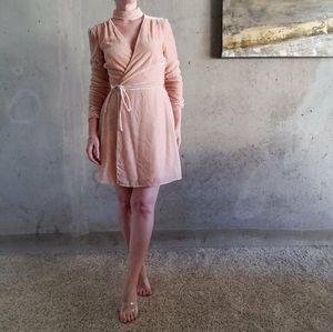 NWT WAYF Velvet Wrap Dress in Blush